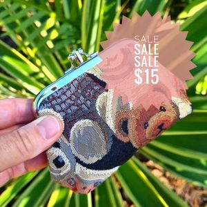 Tapestry Style Teddy Bear Coin Purse Wallet